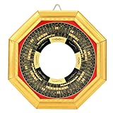Jenngaoo Espejo de Bagua Convexo de abolladura de Feng Shui, Adorno de Madera de bendición de la Suerte Tradicional, talismán taoísta para decoración del hogar, Adorno de Negocios(Espejo cóncavo)