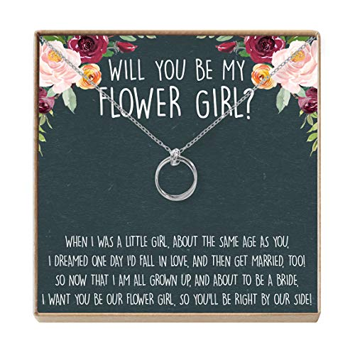 Dear Ava Flower Girl Gift Necklace: Bridal Party Gift, Thank You Gift, Wedding Party Gift, 2 Linked Circles (Silver-Plated-Brass, NA)
