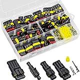 GLORHA 352 Piezas Kit de Conector Impermeable Automático, 1/2/3/4 Pines Coche Impermeable Enchufe Terminal para Conexiones de Automóviles, Camiones, Barcos
