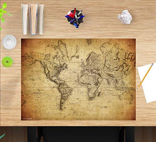 """Schreibtischunterlage Kinder und Erwachsene – """"Weltkarte vintage"""" – aus erstklassigem Vinyl (Kunststoff) – 60 x 40 cm – Rutschfeste Tischmatte mit bestem Schutz – Made in Germany"""