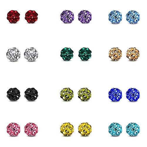 JEWELRIESHOP Rhinestones Crystal Ball Stud Earrings Set Fireball Disco Ball Pave Bead Earrings Hypoallergenic for Teen Girls Women (4mm, 12pairs)
