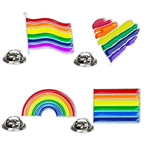 Baiyao 4 broches de arco iris, unisex colorido Badge Pin,Pride Lapel Pin,Broche Pin para regalos de joyería amante