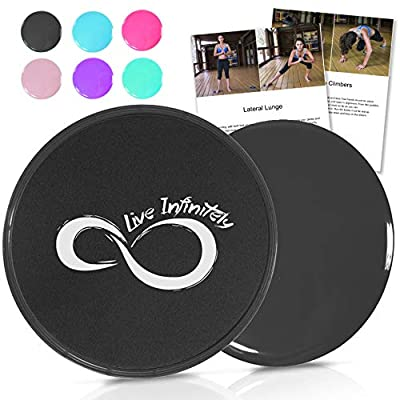 Live Infinitely Gliding Core Disc Sliders 2 Pack Exercise On Any Surface with Our Non-Catch Edges Designed for Smooth Sliding – Dual Sided Trainers Ideal for Home Abdominal & Core Workouts