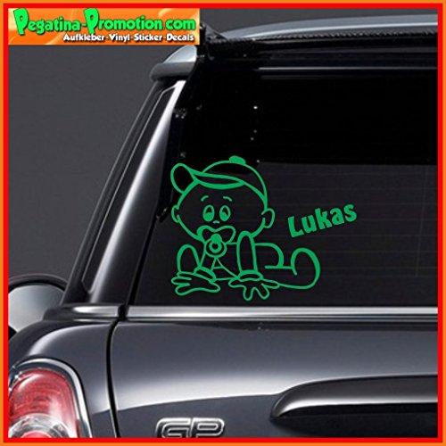 """Hochwertiger Namens Aufkleber \"""" Lukas \"""" Autoaufkleber Name Aufkleber Wandtattoo Aufkleber für Glas,Lack,Tür und alle glatten Flächen, viele Farben zur Auswahl,Auto Sticker Baby an Bord, Kindername,Namensaufkleber"""
