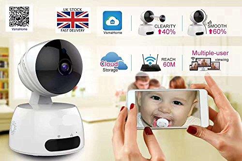 SmartCam HD 720p Telecamera IP di sicurezza wireless WiFi Pan/Tilt/Zoom, Baby Monitor anziani Pet Monitor IR Visione Notturna, Motion Detection Mobile Push Alert Audio bidirezionale AS Clever Dog