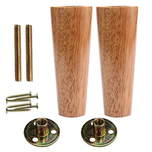 YeVhear - Juego de 2 patas redondas de madera maciza de 6 pulgadas para muebles de piernas, sofá, silla, armario, patas de repuesto, altura ajustable