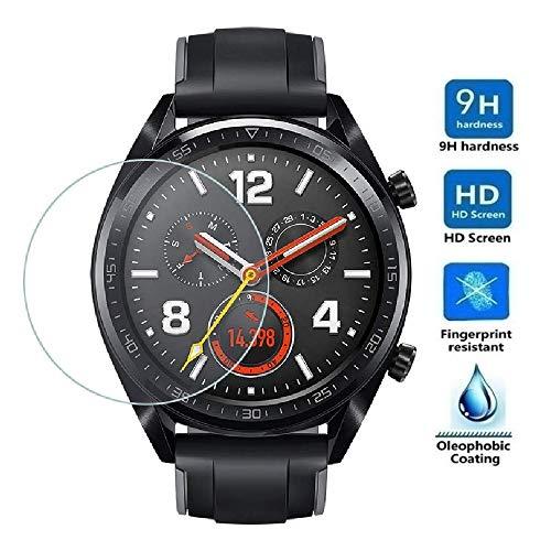 REY - Protector de Pantalla para Huawei Watch GT - Watch GT Active - Watch GT 2 42mm, Cristal Vidrio Templado Premium