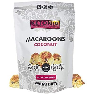 Ketonia Keto Coconut Macaroons - 16 Hand Made Macaroons - 1/2 Net Carb & 60 Calories Per Macaroon - Gluten & Grain Free - Low Carb - Keto Friendly - Natural Source of MCT's