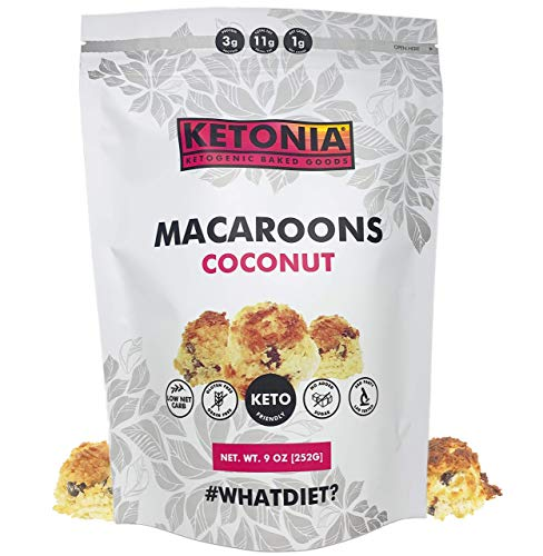 Ketonia® Keto Coconut Macaroons - 16 Hand Made Macaroons - 1/2 Net Carb & 60 Calories Per Macaroon - Gluten & Grain Free - Low Carb - Keto Friendly - Natural Source of MCT's