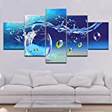 YYBFQTW Canvas Paintings Wall Art 5 Pieces Marine Life Tropical Glass Pictures HD Prints Blue Sea Posters Home Decor 40x60cmx2 40x80cmx2 40x100cmx1NO Frame