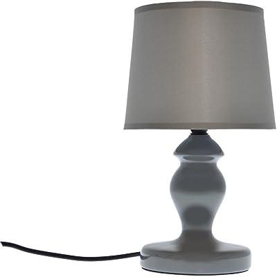 ZONS Lampada da Tavolo Ceramica Lucida 3Colori D15x H30cm Grigio