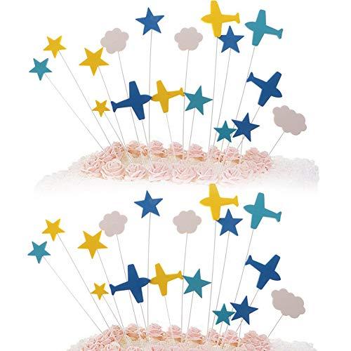 Cake Toppers,BETOY 2 Juegos Cake Toppers Decoración Aviones Cake Toppers Nubes Blancas, Estrellas, Cortesía en Forma de Avión, Adecuado para Decoración de Pasteles, Decoración de Refrigerios