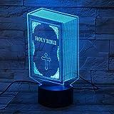 Lámpara De Ilusión 3D Luz De Noche Led Libro De La Sagrada Biblia 7 Cambio De Color Usb Jesús Cruz Lámpara De Escritorio Regalos Para Niños Decoración De Dormitorio Regalo De Luz