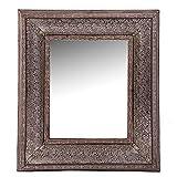 Vipalia Espejo de Madera de Abeto y Aluminio Repujado. Mueble Dormitorio. Estilo Clasico. Lacado. Medidas 81x7x95 cm. Coleccion Silver Vi. Color Marron y Plata