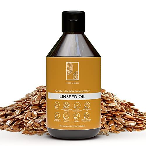 Cura Lignum Boiled Linseed Oil for Wood - Natural Wood Oil Blend with Lemongrass Oil - Wood Polish for Furniture with Lemon Fragrance, 16.9 Fl Oz