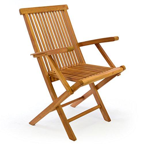 Nexos DIVERO Klappstuhl Teakstuhl Gartenstuhl Teak Holz Stuhl mit Armlehne für Terrasse Balkon Wintergarten witterungsbeständig behandelt massiv klappbar natur