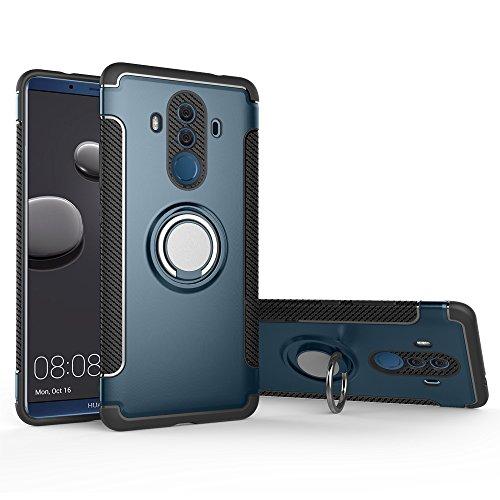 BLUGUL Coque Huawei Mate 10 Pro, Support à Anneau Rotatif à 360 Degrés, Compatible avec Magnétique Support Voiture, Housses pour Huawei Mate 10 Pro Cyan