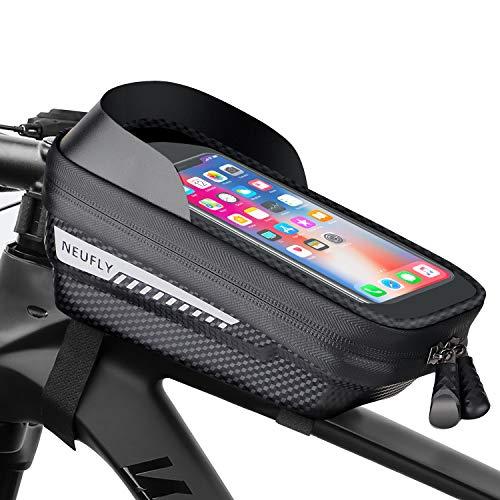NEUFLY Fahrrad Rahmentasche, Fahrrad Handyhalterung Wasserdicht Super Empfindlicher Touchscreen mit Kopfhörerloch MTB Druckfest Fahrradtasche Rahmen für Smartphones bis zu 6,5 Zoll