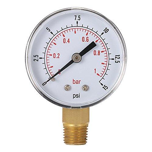 Baugger MANÓMETRO - 50 Mm 0~15 Psi 0~1 Bar Piscina Filtro de Presión de Agua Dial'Npt Hidráulico Indicador de Presión del Manómetro Medidor de 1/4