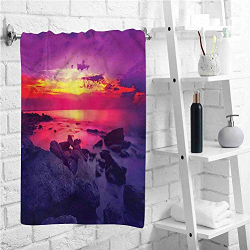 W 12 X L 35 inch Large Towel,Sunset Over Sea Cloudy,Anti-Fade Bath Towel,Cartoon Decor,for Pool,Spa,and Gym