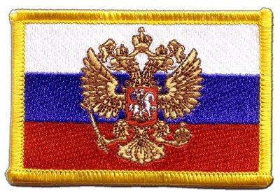 Aufnäher Patch Flagge Russland mit Wappen - 8 x 6 cm