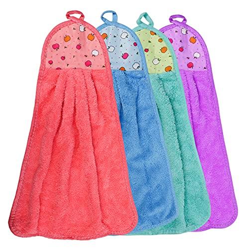 Icecode 4 toallas de mano para colgar en la cocina, diseño de lazo de coral suave y pequeño paño de limpieza para cocina y baño ⭐