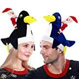 Camlinbo 2 Pack Plush Penguin Christmas Hats Santa Hats Cap Xmas Ugly Sweater Theme Funny Party Hats Christmas Costume Holiday Party Supplies Decorations (Navy + Black )
