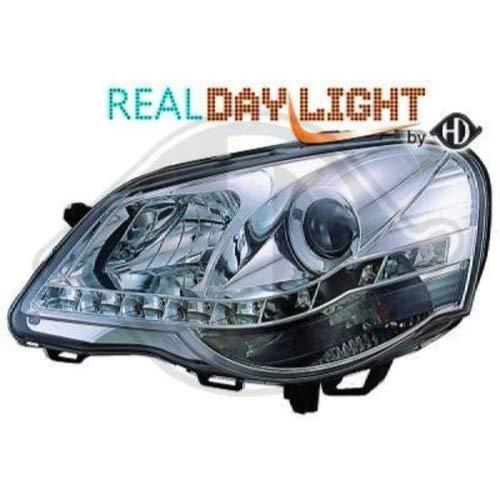 phares design, set POLO, 05-09 cristal/chrome avec vrais feux diurnes H1/H1, pour régl. électr. homologation R87 VALEO SYSTEM