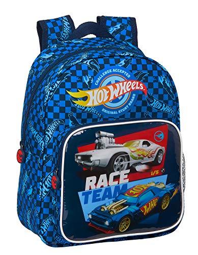 safta Mochila Escolar Infantil de Hot Wheels, 270x100x330mm, azul, M