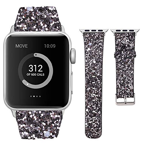 Moonooda Glitter Sparky Strap Women Wristband with Sequins Replacement for iWatch Band 44mm 42mm 40mm 38mm Feminine Compatible for Series SE 6 5 4 3 2 1, Dark Grey