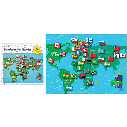 11177 Puzle para niños Modelo Banderas del Mundo, Banderas de Distintos países en un mapamundi. Rompecabezas 30 Piezas. 21 x 28.5cm