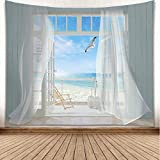 YISURE Tapestry Wall Hanging, Seagulls Screen Window Ocean Seaside Heaven Balcony Wall Art for Bathroom Bedroom Living Room Dorm Decoration, Large Size, 80x60 Inch