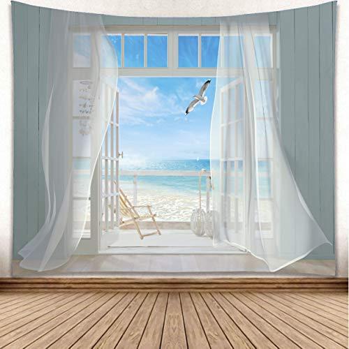 YISURE - Arazzo da parete da appendere, motivo: gabbiani, oceano, mare, paradiso da parete per camera da letto, soggiorno, dormitorio, 230 x 150 cm