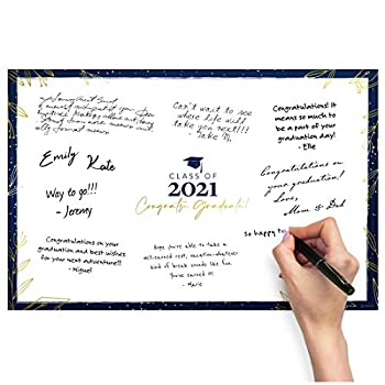 Graduation Party Supplies 2021 - Signature Guest Book Board Graduation Gift Party Favors Class of 2021 - Create a Personalized Sign 2021 Graduation Decorations 2021 - Unframed
