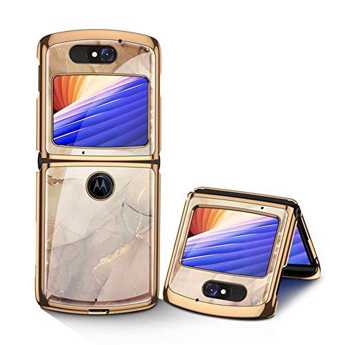 MingMing Hülle für Motorola Razr 5G Hardcase Stoßfest Schutzhülle PC + 9H Gehärtete Glasabdeckung, Superdünne handyhülle für Motorola Razr 5G, Champagner
