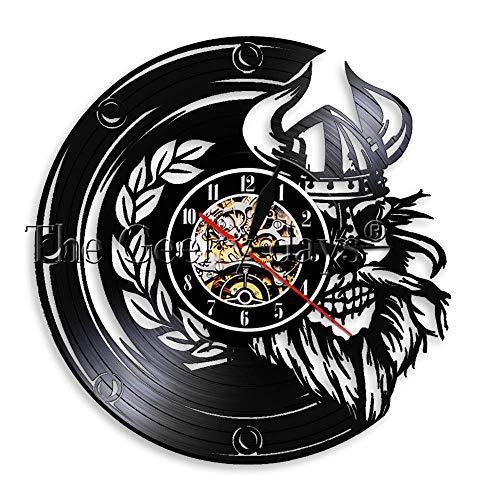 Viking schedel Wall Art wandklok schedel helm hoorns Noorwegen zee zeilen Warrior Barbarian Walhalla Retro Vinyl Record wandklok-Without_LED
