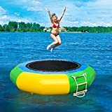 UINKISY 6.5Ft Inflatable Water Trampoline Bounce Swim Platform Swimming Rest Platform Water Bouncer Water Park with Escalator for Leisure Sports