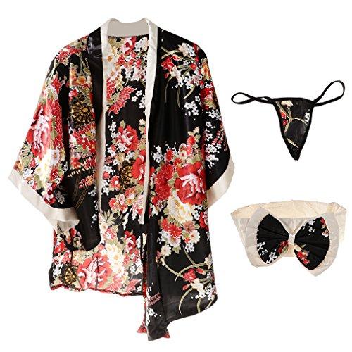 Sharplace Kimono Túnica Pretina Tanga Traje Japonés Cosplay de Geisha Mujeres Ropa Interior Traviesa - Negro, Única