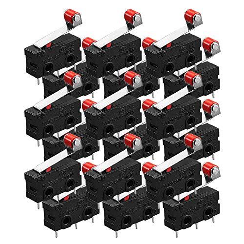 20x Stück Micro Mikroschalter Endschalter Positionschalter Schalter mit Rollenhebel Schließen Taster Tür Fenster Alarm 250V 5A SPDT 3Pin