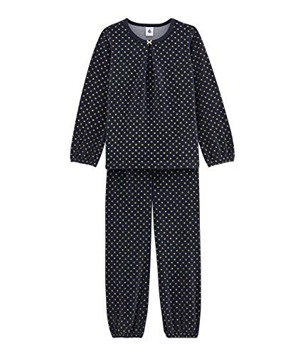 Petit Bateau Pyjama Schlafanzug Nicky blau Gold mit Punkten 8 ans 126 cm