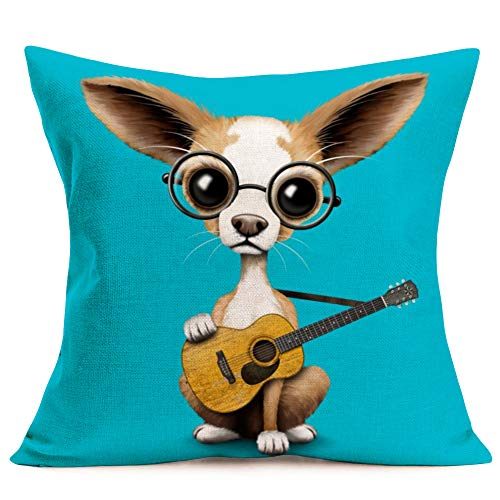 """YANGYULU Pillow Covers Cute Baby Animals Dog with Guitar Cotton Linen Decorative Throw Pillow Cases Square Cushion Cover for Home Sofa 18"""" x 18""""(Cute Chihuahua)"""