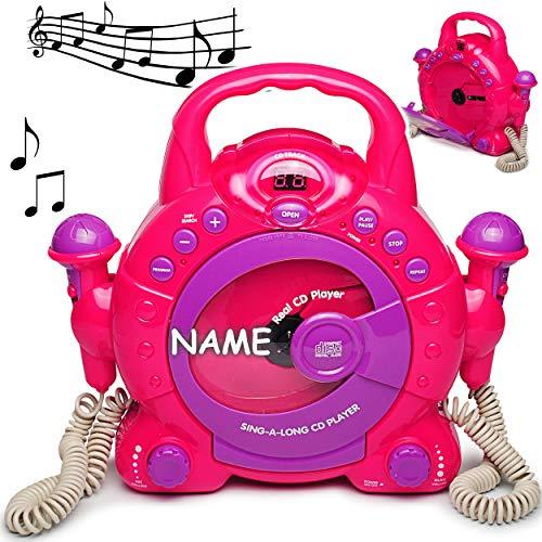 alles-meine.de GmbH CD-Player mit 2 Mikrofonen / LED-Display pink - incl. Name - Karaoke - tragbar Mikrofon - Kopfhöreranschluß - Programmiertasten - Netzadapteranschluß für Kind..