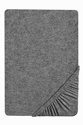 biberna 0841380 Drap-Housse uni en Flanelle mélangée Hauteur Max. du Matelas 22 cm Titane 140 x 200 cm -> 160 x 200 cm