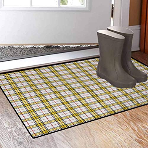 Suchashome 24 x 35.8 Inches Abstract Inside Entrance Mat for Back Door Scottish Tartan Pattern Criss Crossed Horizontal Vertical Bands Image Yellow Light Grey Red