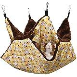MQUPIN Hamaca para Mascotas, 2 Capas Hamster Hamaca Animales Pequeño con 4 Ganchos, Hamaca pequeña para Mascotas cálida Cama Colgante para Hurones/Ardillas/Otros Animales pequeños (Amarillo)