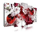 DekoArte 467 - Cuadros Modernos Impresión de Imagen Artística Digitalizada | Lienzo Decorativo Para Tu Salón o Dormitorio | Estilo Naturaleza Tonos Claros con Flores y Vino Colores | 5 Piezas 150x80cm