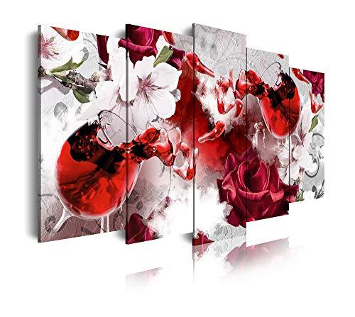 DekoArte 467 - Cuadros Modernos Impresión de Imagen Artística Digitalizada   Lienzo Decorativo Para Tu Salón o Dormitorio   Estilo Naturaleza Tonos Claros con Flores y Vino Colores   5 Piezas 150x80cm