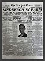 ポスター ピーター リンドバーグ VISIONAIRE(ヴィジョネアー)チャールズ・リンドバーグ NYタイムズ1927年5月22日 額装品 ウッドベーシックフレーム(ブラック)