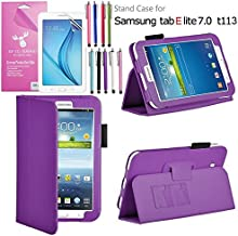 Galaxy Tab E Lite 7.0 Case, EpicGadget(TM) Galaxy E Lite Premium PU Leather Folding Folio Cover Case with Built in Stand For Tab E Lite 7 inch T113 + Screen Protector + 1 Stylus (Purple Leather Cover)