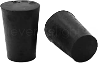 25 Pack - CleverDelights Solid Rubber Stoppers   Size 0   17mm x 13mm - 24mm Long - Black Lab Plug #0